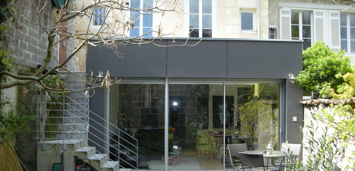 Extension et r am nagement appartement bordeaux cityzen for Extension cuisine sur jardin